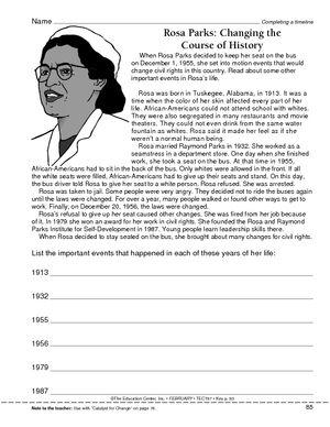 Worksheet Completing A Timeline Rosa Parks Rosa Parks