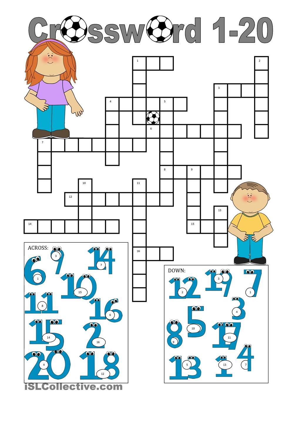 Crossword 1-20 | Numbers, days of the week, months Gor | Pinterest ...