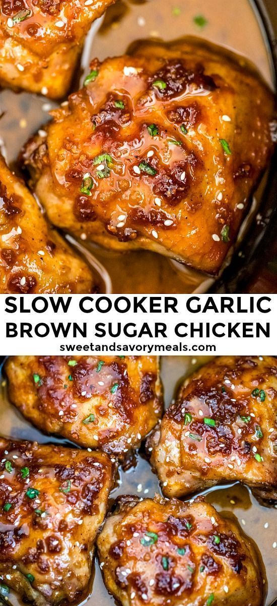 Slow Cooker Brown Sugar Garlic Chicken - Sweet and Savory Meals