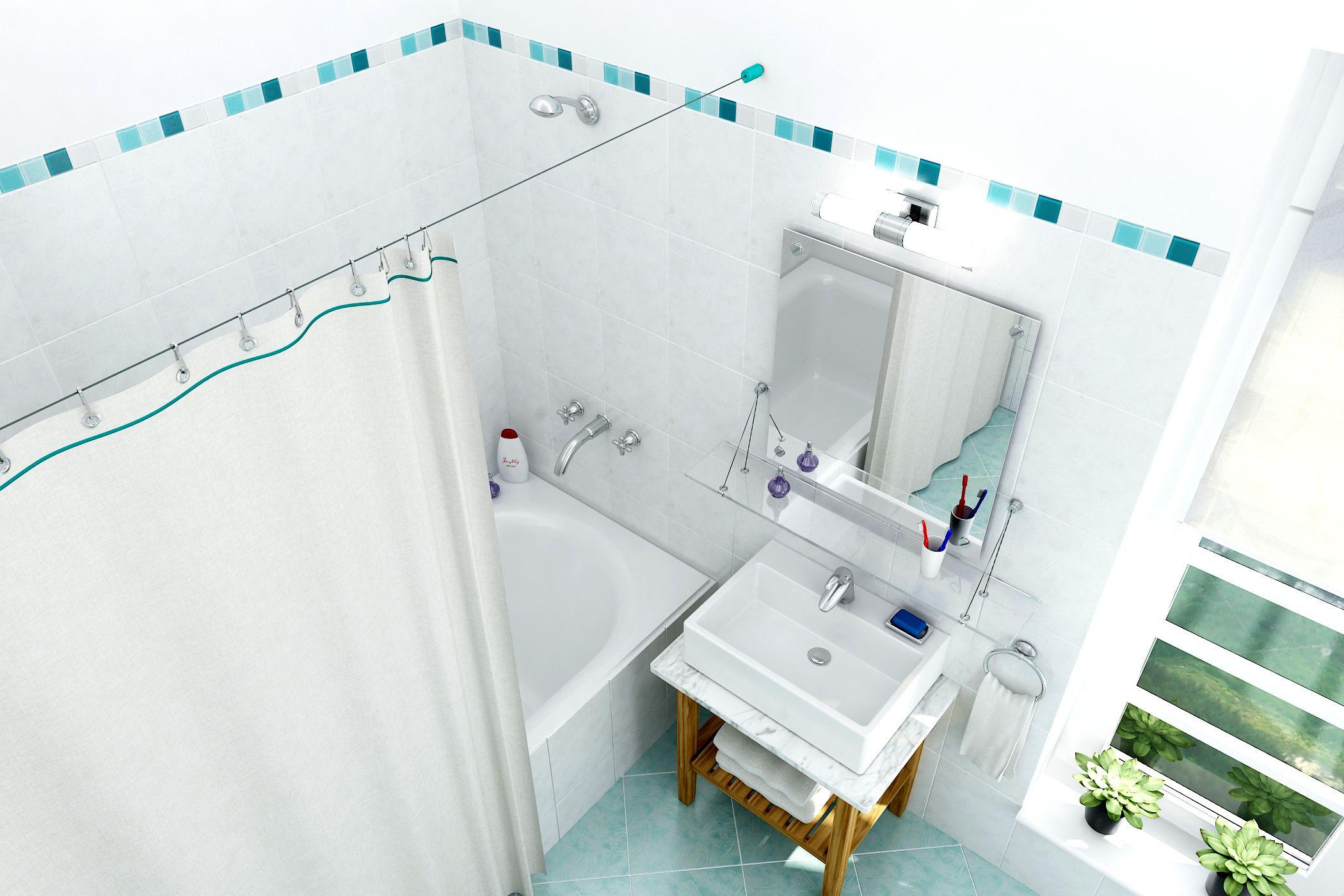 Barral De Cable Tensado Para Baño Modelo Lisboa Turquesa Cortinas De Baño Cortinas Barral