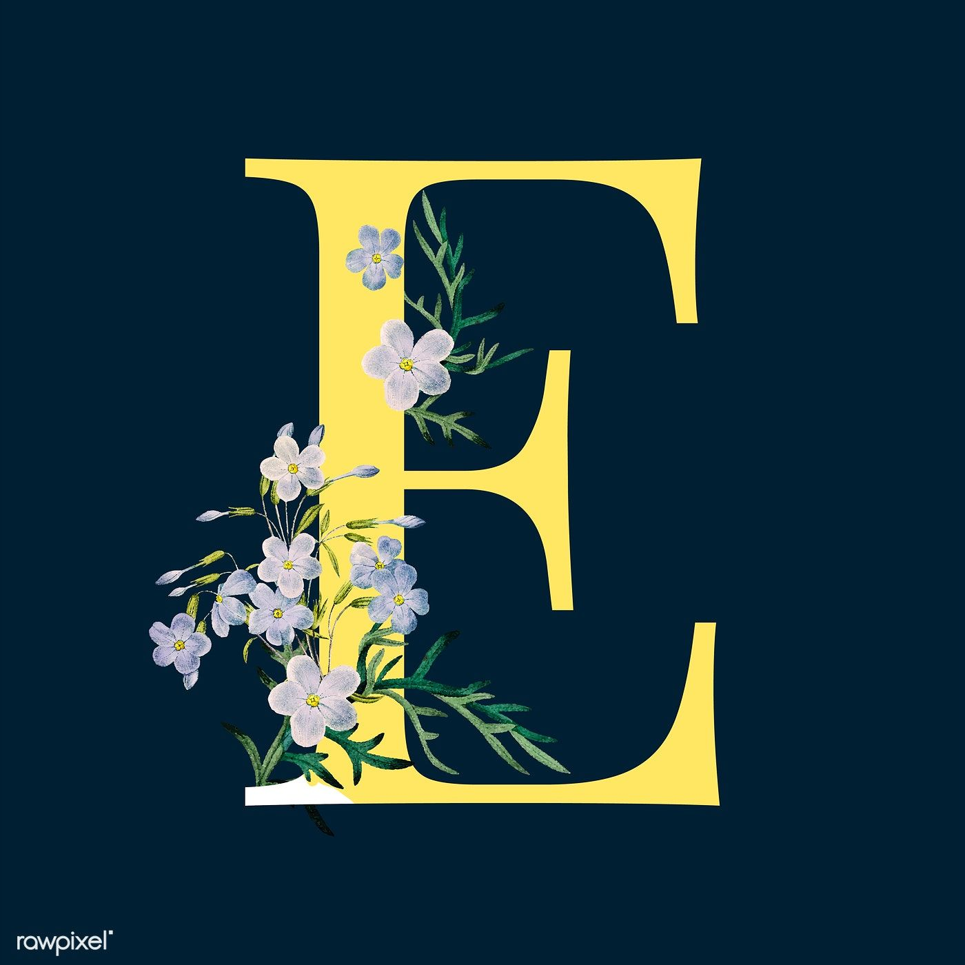 Yellow Letter E Decorated With Hand Drawn Blue Phlox Vector Free Image By Rawpixel Com Sasi How To Draw Hands Vector Free Free Illustrations