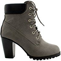 59568092f9ef4 Women's Lace Up Fashion Collar Chunky Heel Ankle Bootie Trends SNJ ...