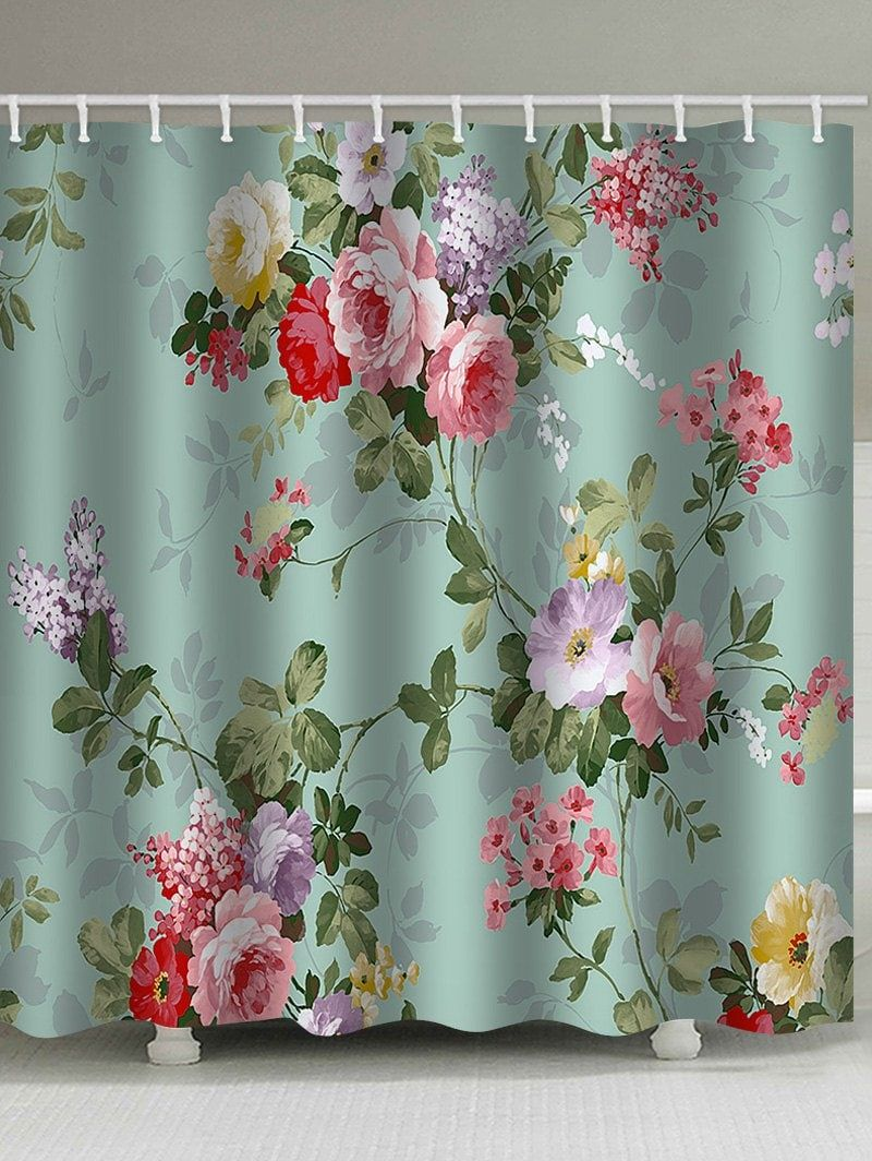 Retro Floral Printed Waterproof Shower Curtain Floral Shower