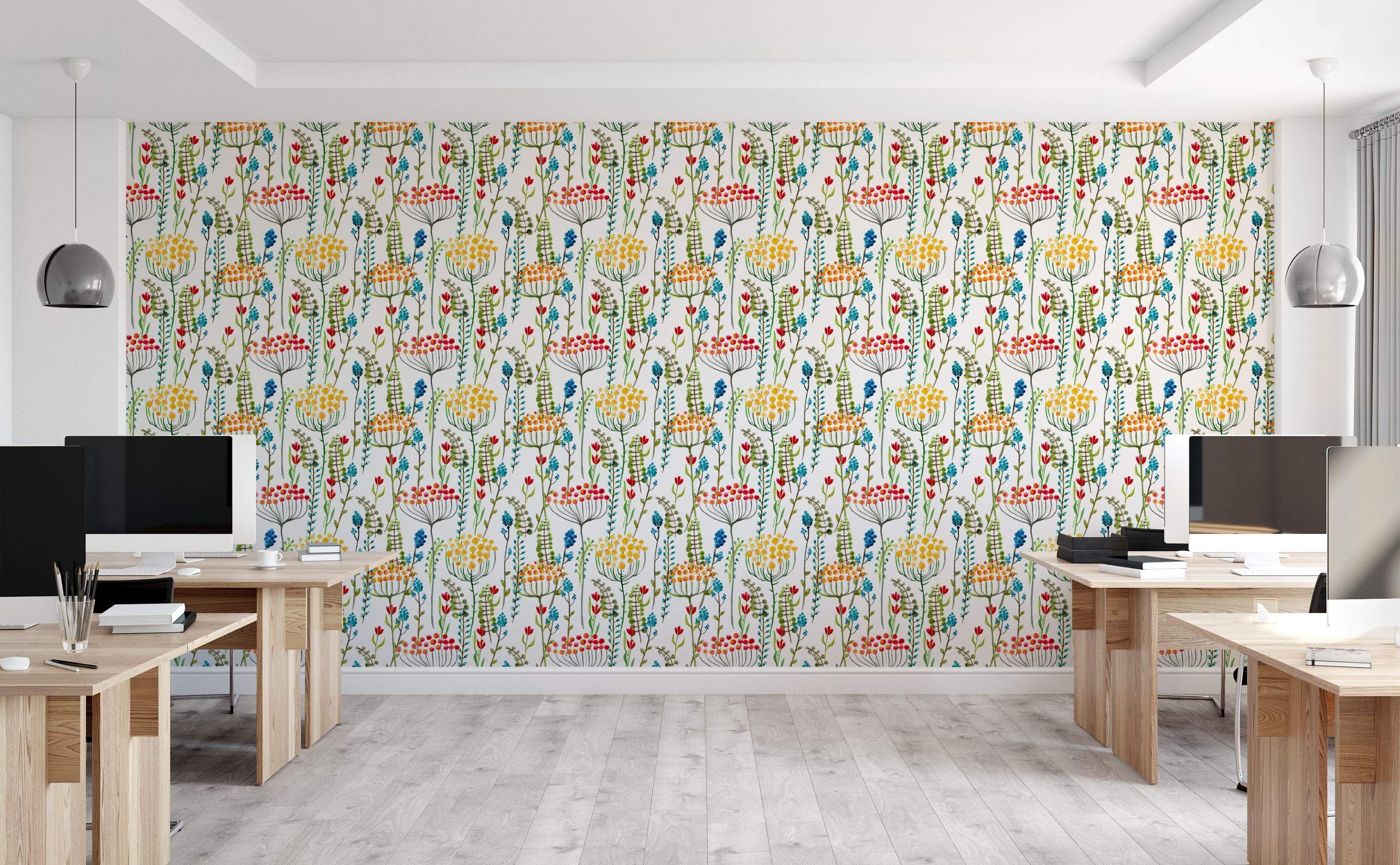 Spring Fields Wall Wallpaper Flower Wallpaper Wallpaper