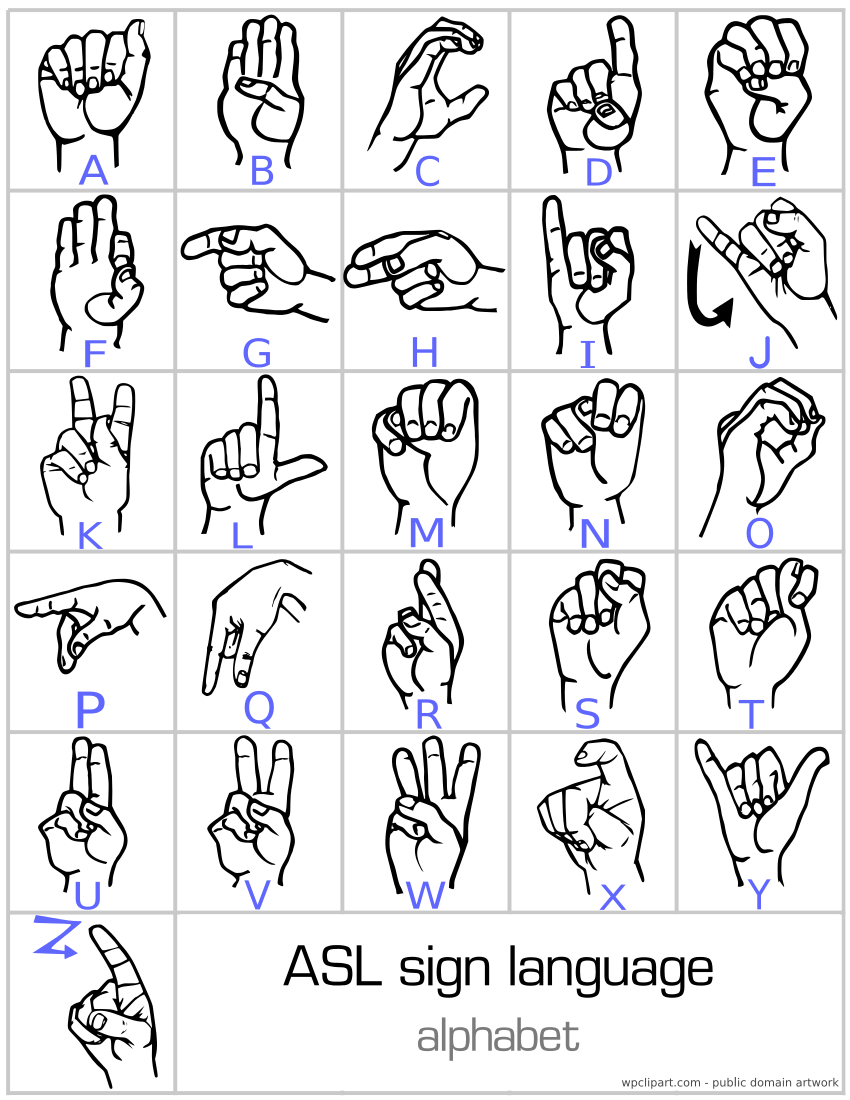 Sign language alphabet printable coaching or teaching for Letter a sign