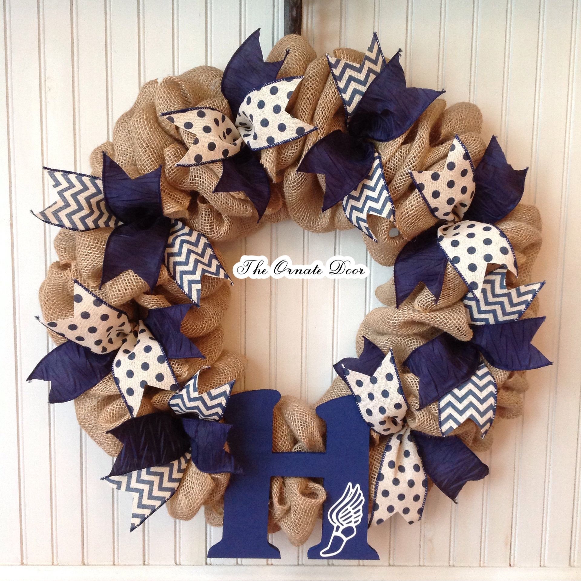 Photo of Track and field wreath, track monogram wreath, burlap sports wreath, running wreath, track door hanger, track and field, winged foot track