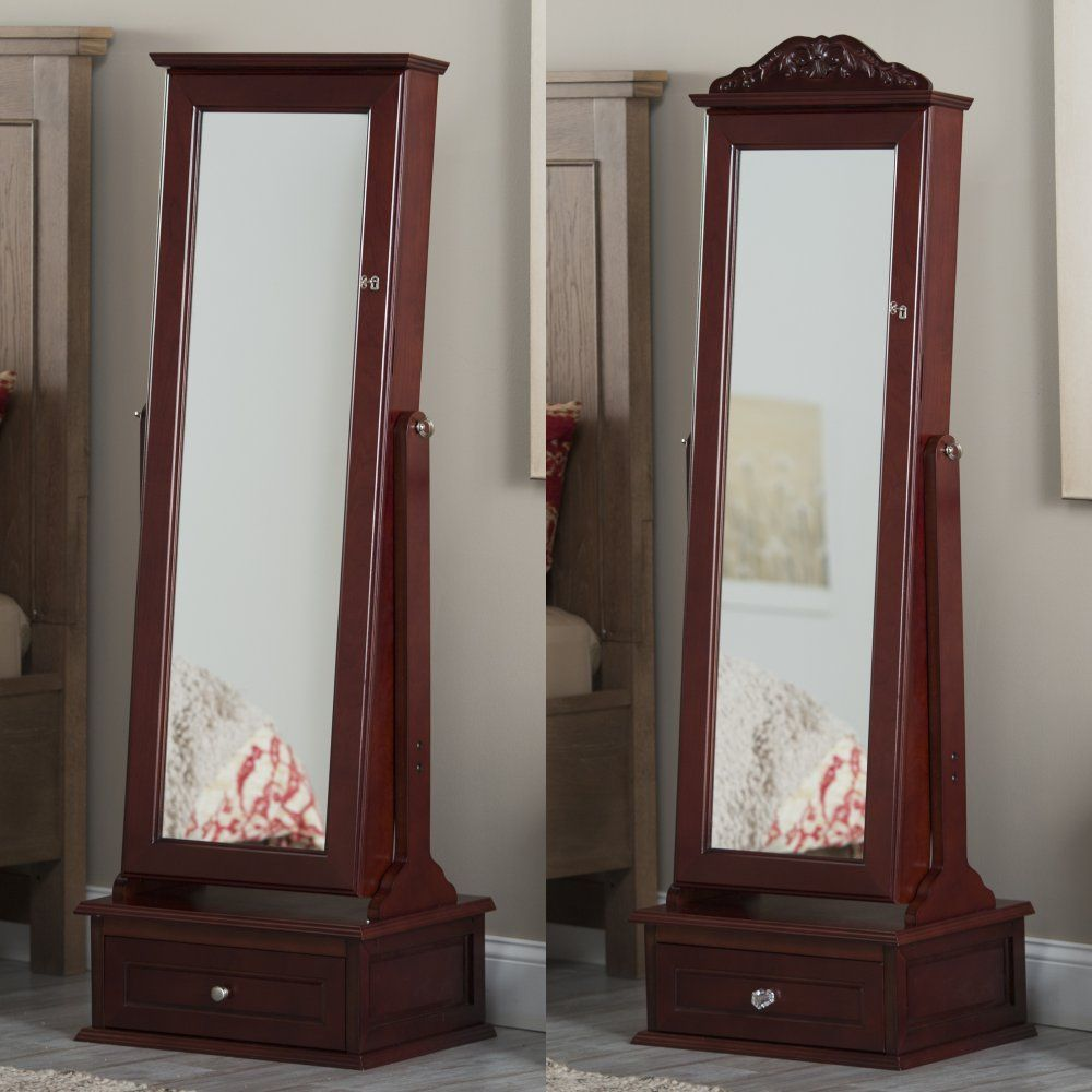 Belham Living Removable Decorative Top Locking Mirrored Cheval