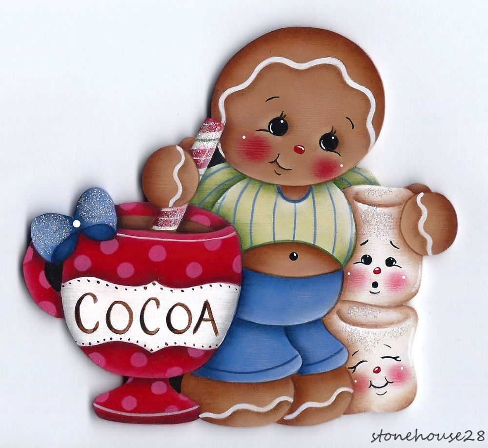 HP GINGERBREAD Cocoa and Marshmallows FRIDGE MAGNET #Handpainted