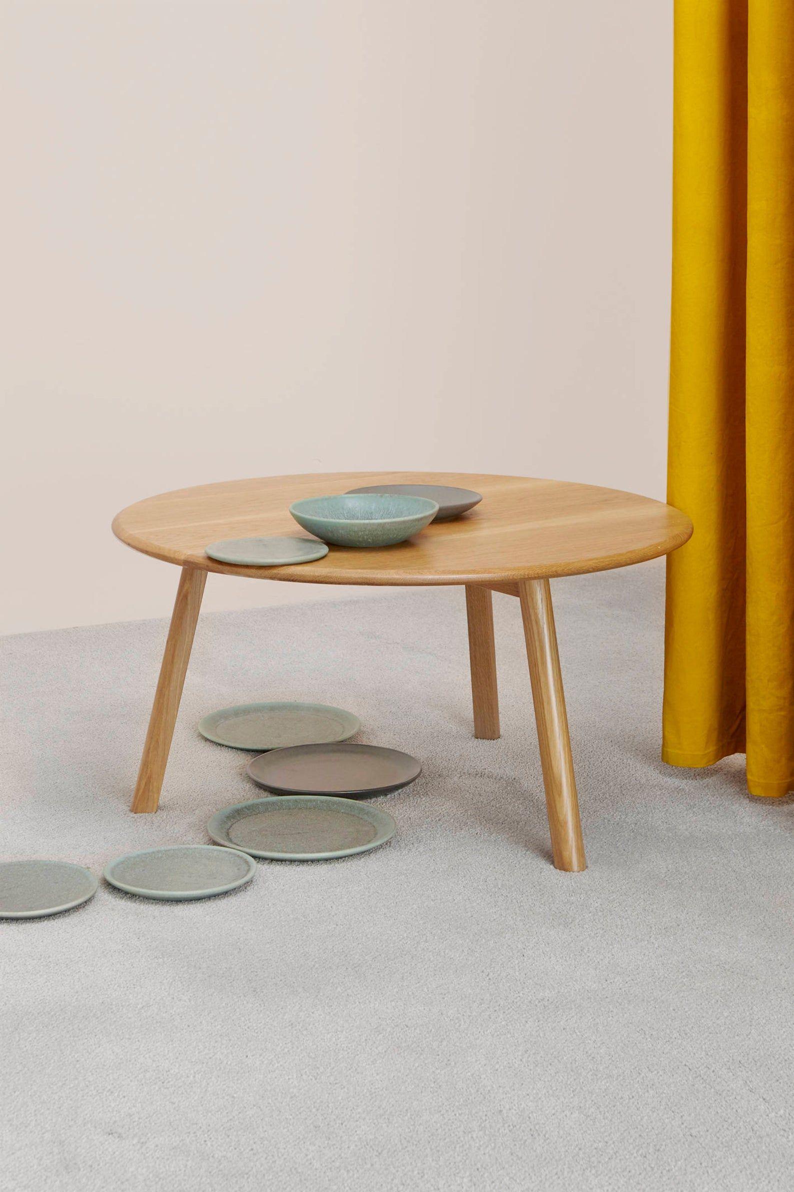 Solid Oak Round Coffee Table Soft Edge Modern Design Brooke Etsy Oak Coffee Table Pine Coffee Table Coffee Table [ 2382 x 1588 Pixel ]
