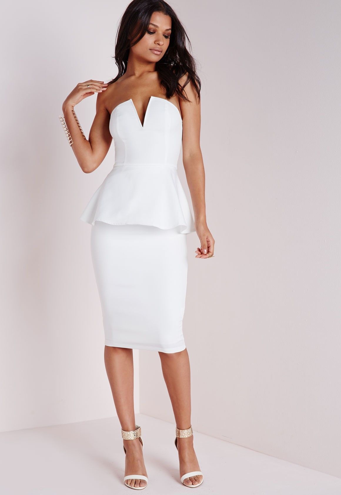 2018 pink and white bodycon bandage midi dress