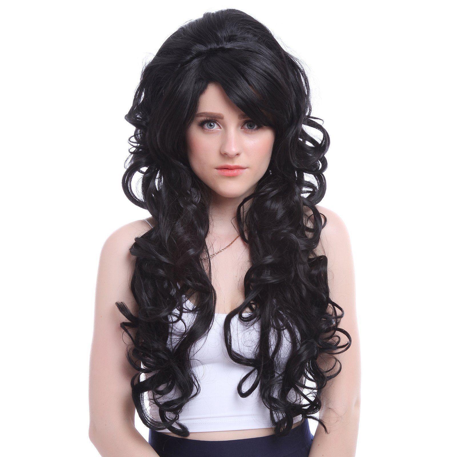 Womens Vampiress Countess Long Wavy Black Banque Party Cosplay Wig