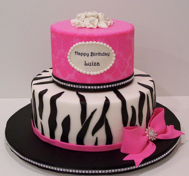 Damask And Zebra Print Cake By Cakee Beth Chantilly Designs Via