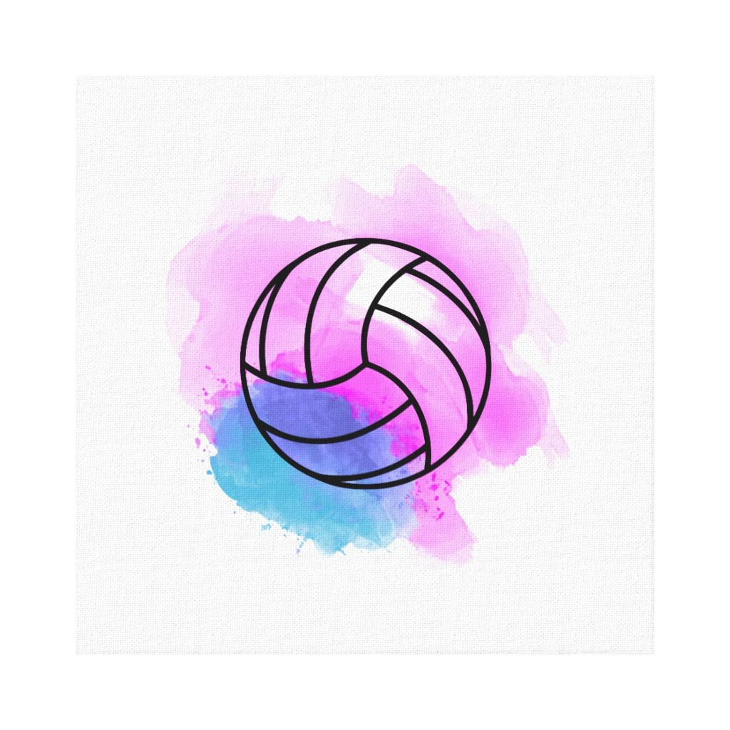 Volleyball Watercolor Canvas Print Zazzle Com Volleyball Drawing Volleyball Wallpaper Watercolor Canvas