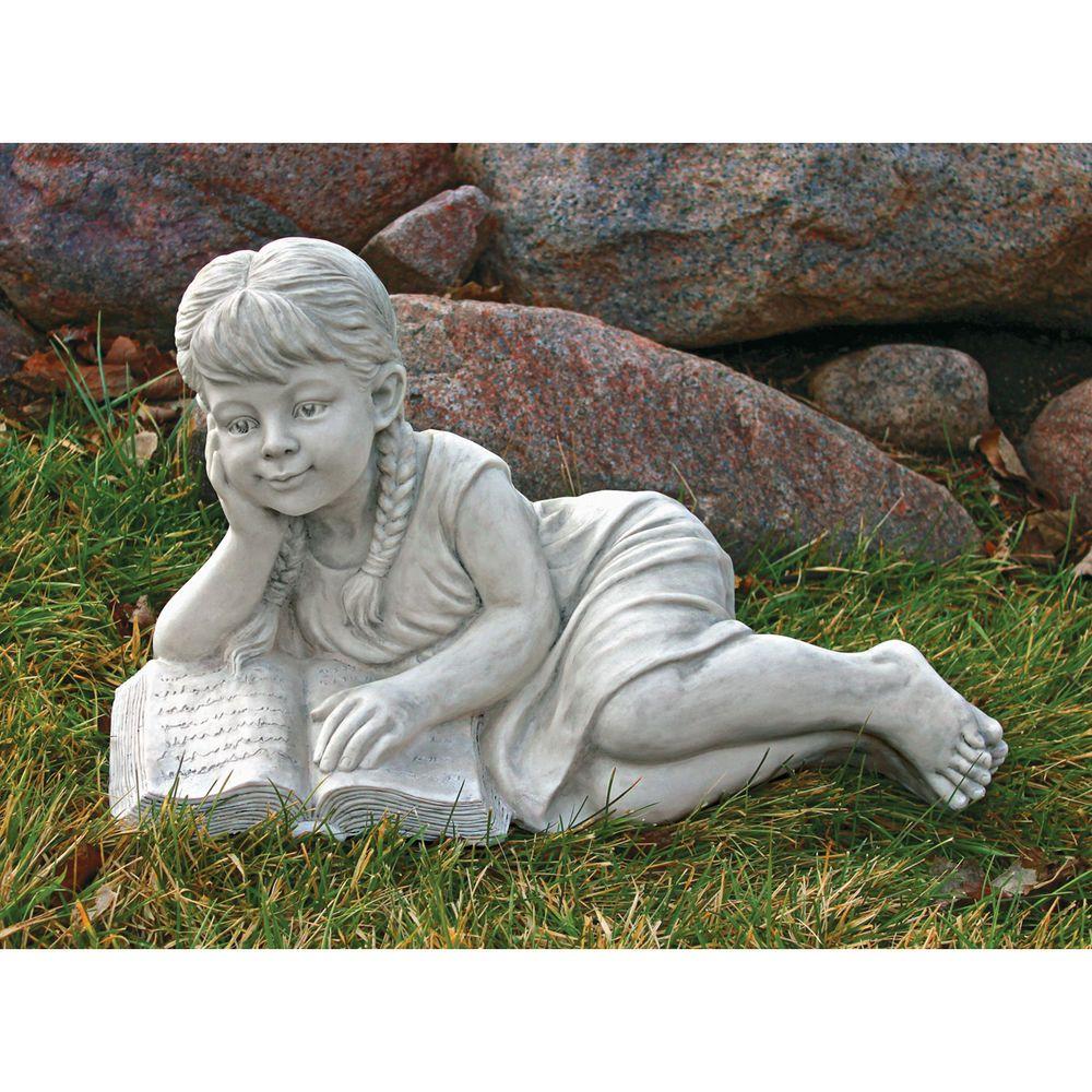 Beautiful Little Girl Book Lover Sculpture Child Reading Garden Statue
