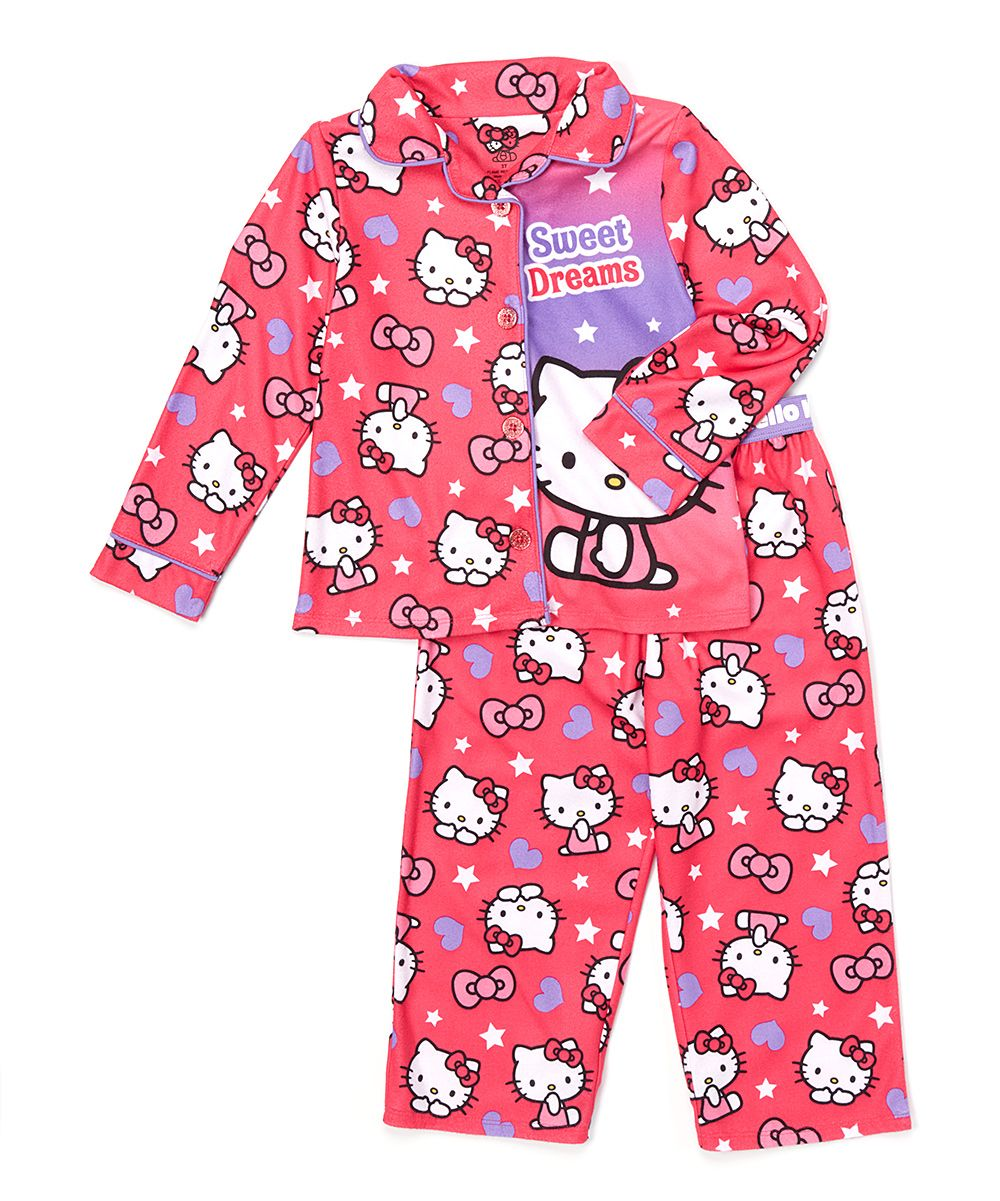 Hello Kitty Pink Hello Kitty Button-Down Pajama Set - Girls | Pink ...