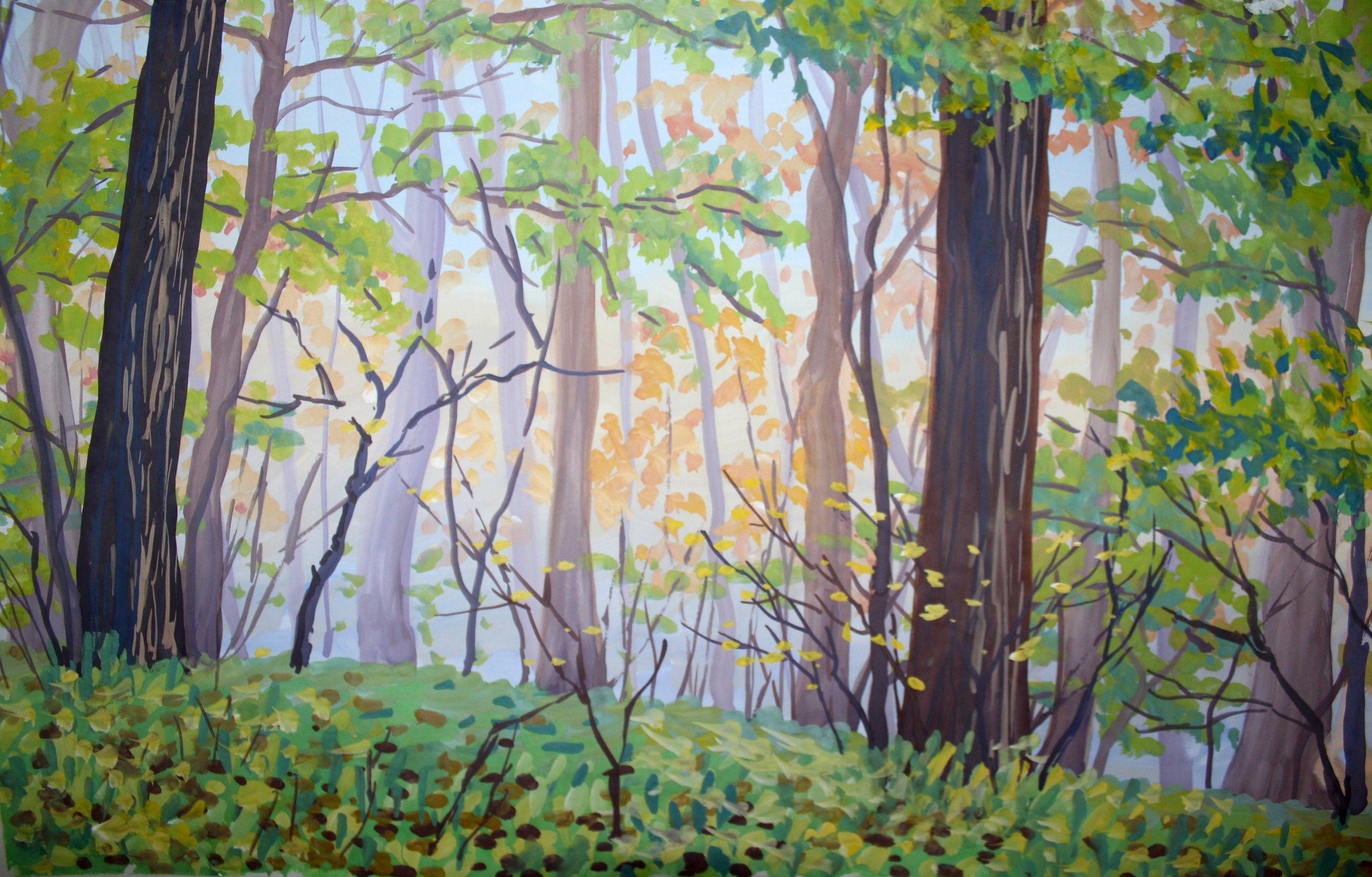 Любовные отношения, лес рисунок гуашью
