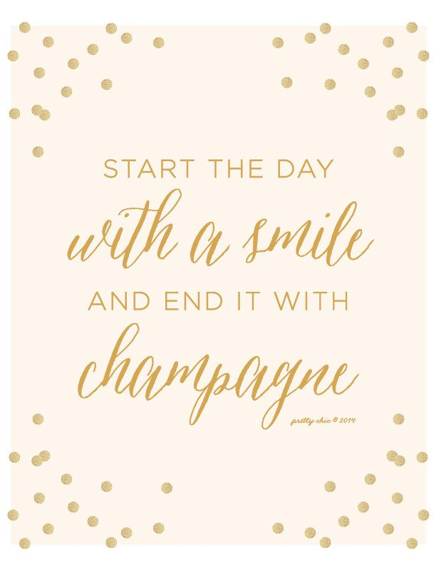 Start The Day With A Smile And End It With Champagne Print   Happy Hour    Gold Glitter   Bar Sign