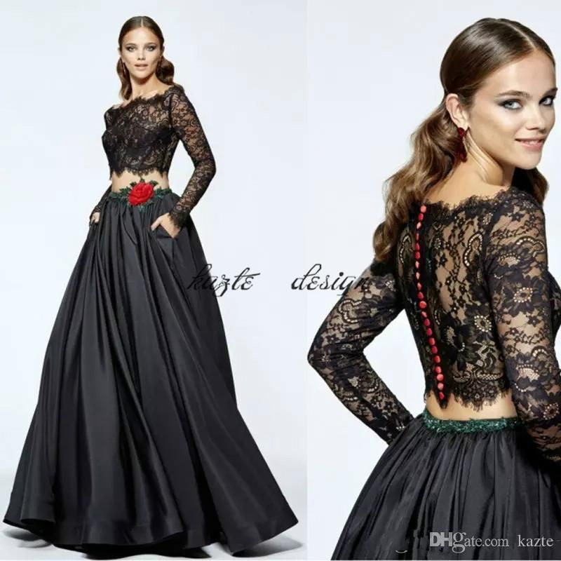 Off Shoulder Black Prom Dresses With Long Sleeve Two Pieces Lace ...
