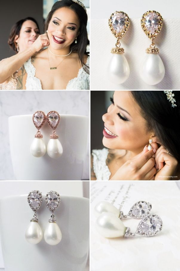 Pearl And Crystal Wedding Jewelry Gifts For Her By Twixtdesigns Drop Earringsbridal