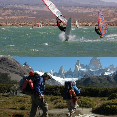¿Qué medio eliges para atravesar este lunes? #Windsurf en Cuyo o  #Trekking en Patagonia