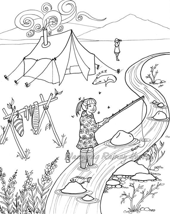 Late Summer Camping Hand Drawn Alaska Native Coloring Page Download And Print Your Own How To Draw Hands Coloring Pages Native Artwork