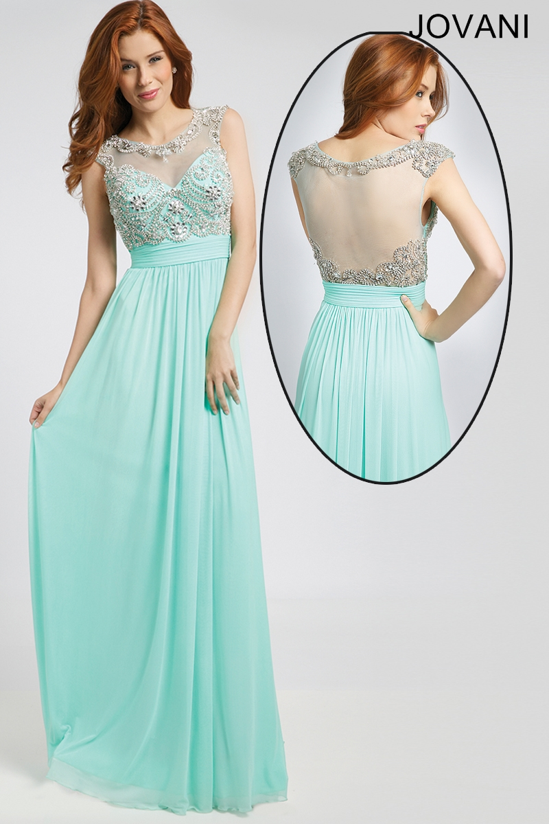 We have this soft feminine gown in aqua. The top has beautiful ...