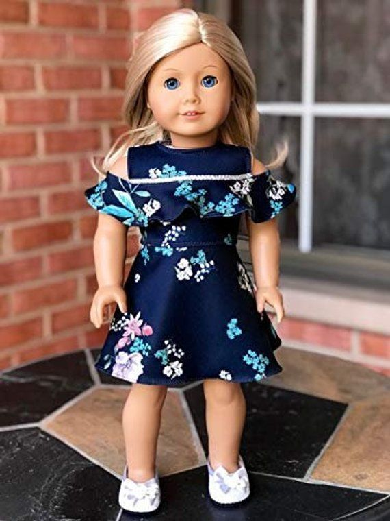 Romantic Moment - Dark Blue Dress - Clothes Fits 18 Inch American Girl Doll (Doll Not Included)