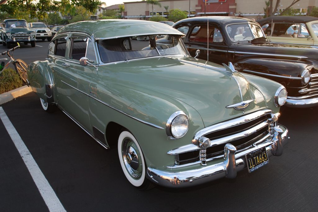 Pale Green 1950 Chevrolet Deluxe 4 Door Sedan 3 4 Front