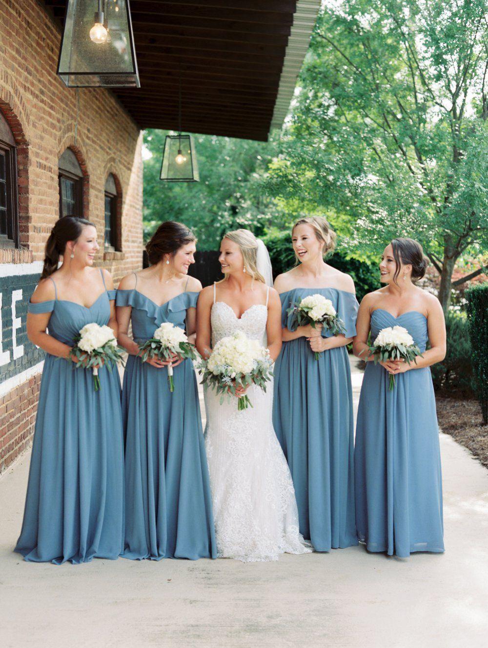 Dusty Blue Georgia Wedding   Dusty blue bridesmaid dresses, Blue ...