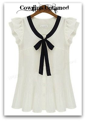 909da37f2f COWGIRL CHIC TOP White Pleated Chiffon Black Bow Ruffle Sleeve Tuxedo Top