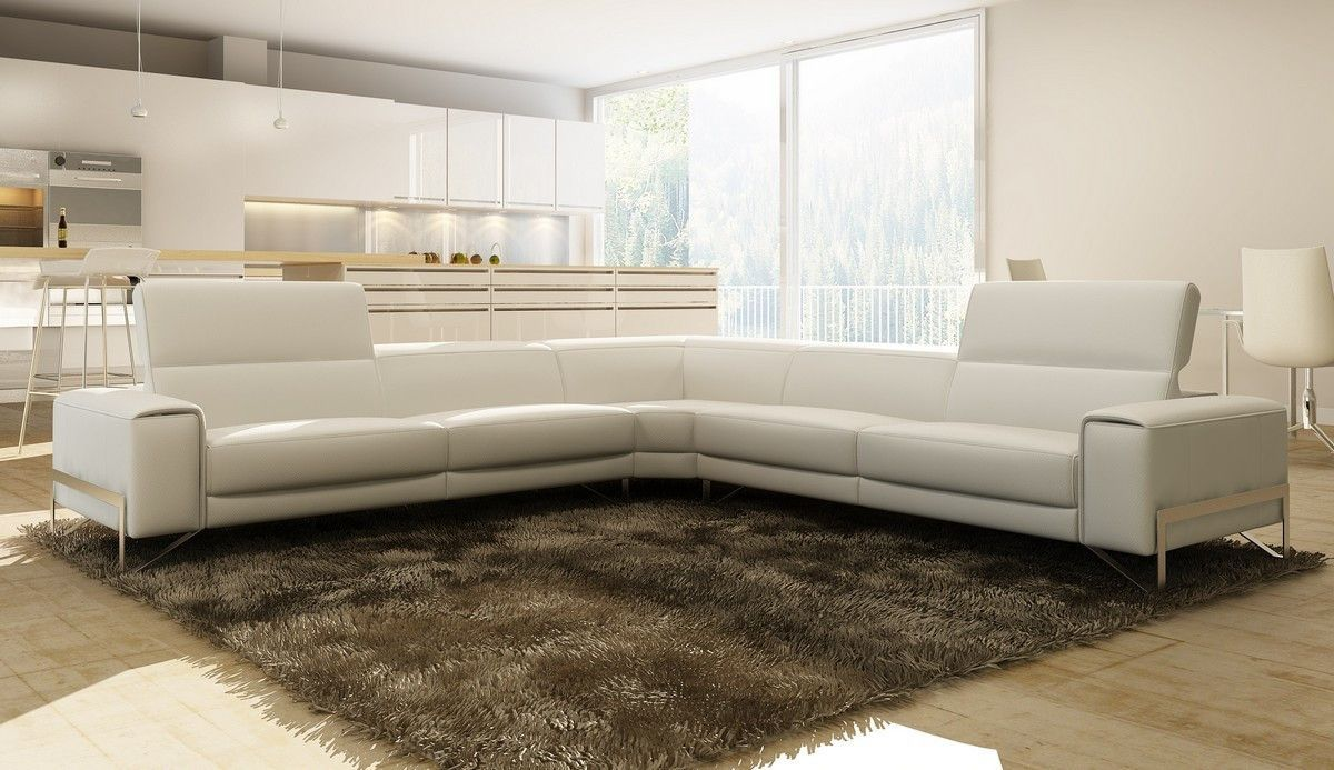 The Sectional Sofa Comes In White Italian Leather This Sofa Features Very Minimal Designe Italian Leather Sectional Sofa Sectional Sofa Leather Sectional Sofa