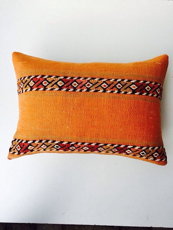 orange kilim pillow turkish cushion
