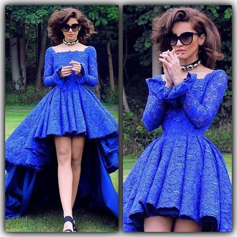 Royal Blue Vintage Lace High Low Prom Dresses Long Sleeves 2016 A