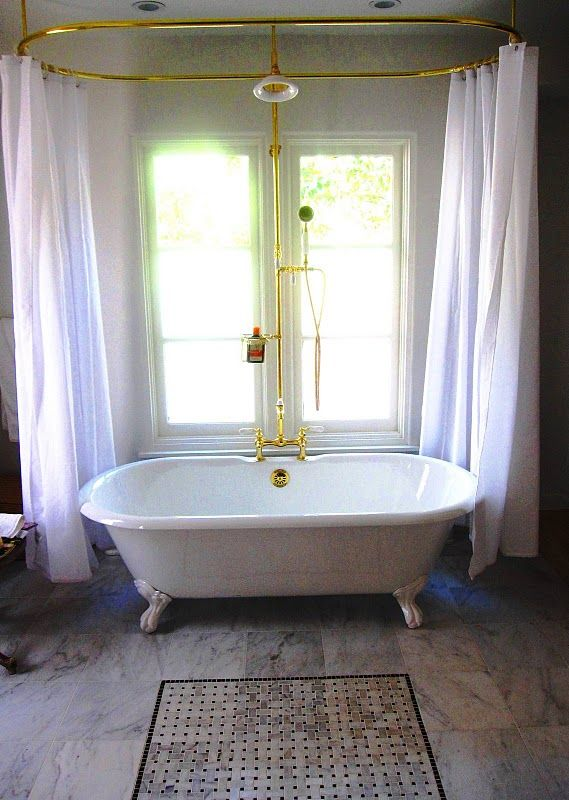 Center Drain With Showerhead Large Oval Shower Rod Tub Combo Clawfoot Bathroom
