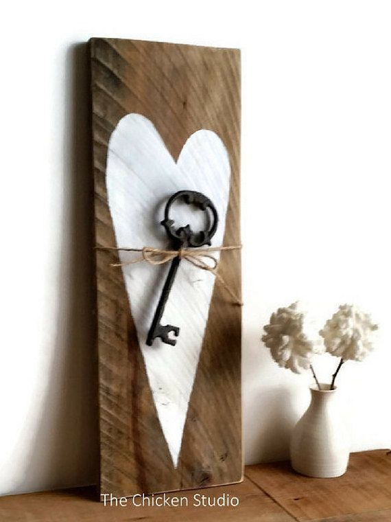 Valentines Gift Key To Heart Home Decor Wife By TheChickenStudio
