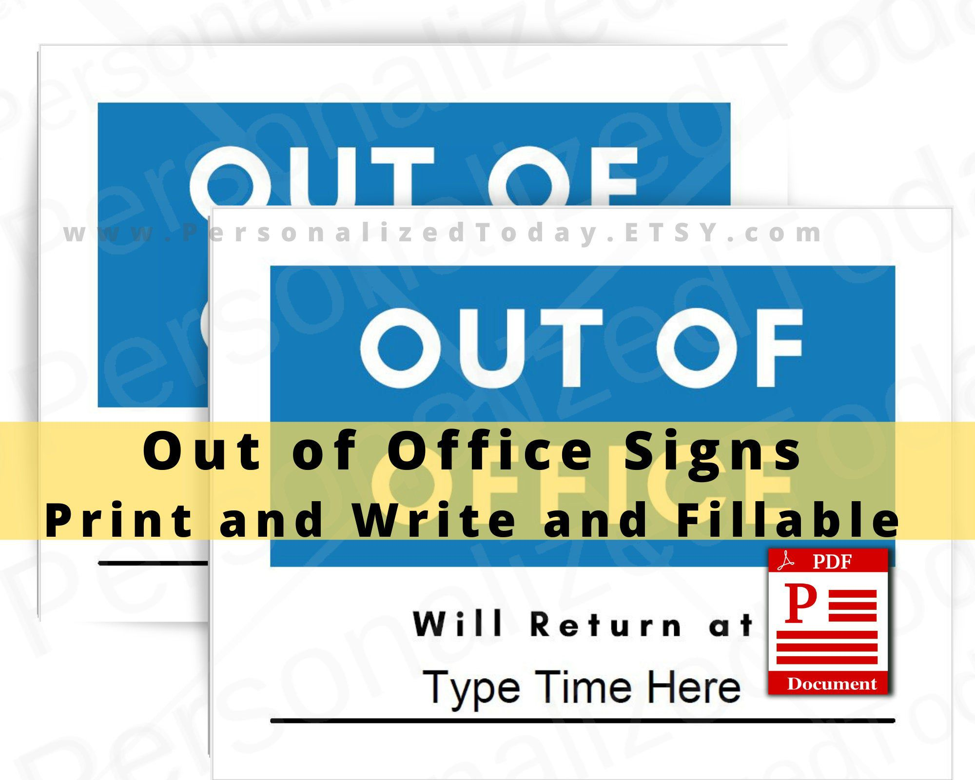 Out Of Office Signs Printable Digital