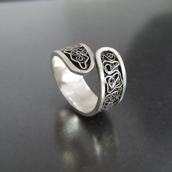 Sterling silver ring filigree ring pattern by NKjewelrydesign, $160.00