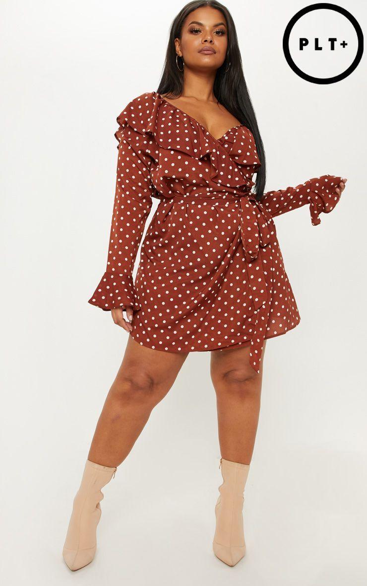 aaf65cc3fa937 Plus Chocolate Brown Polka Dot Frill Detail Wrap Dress in 2019 | FW ...