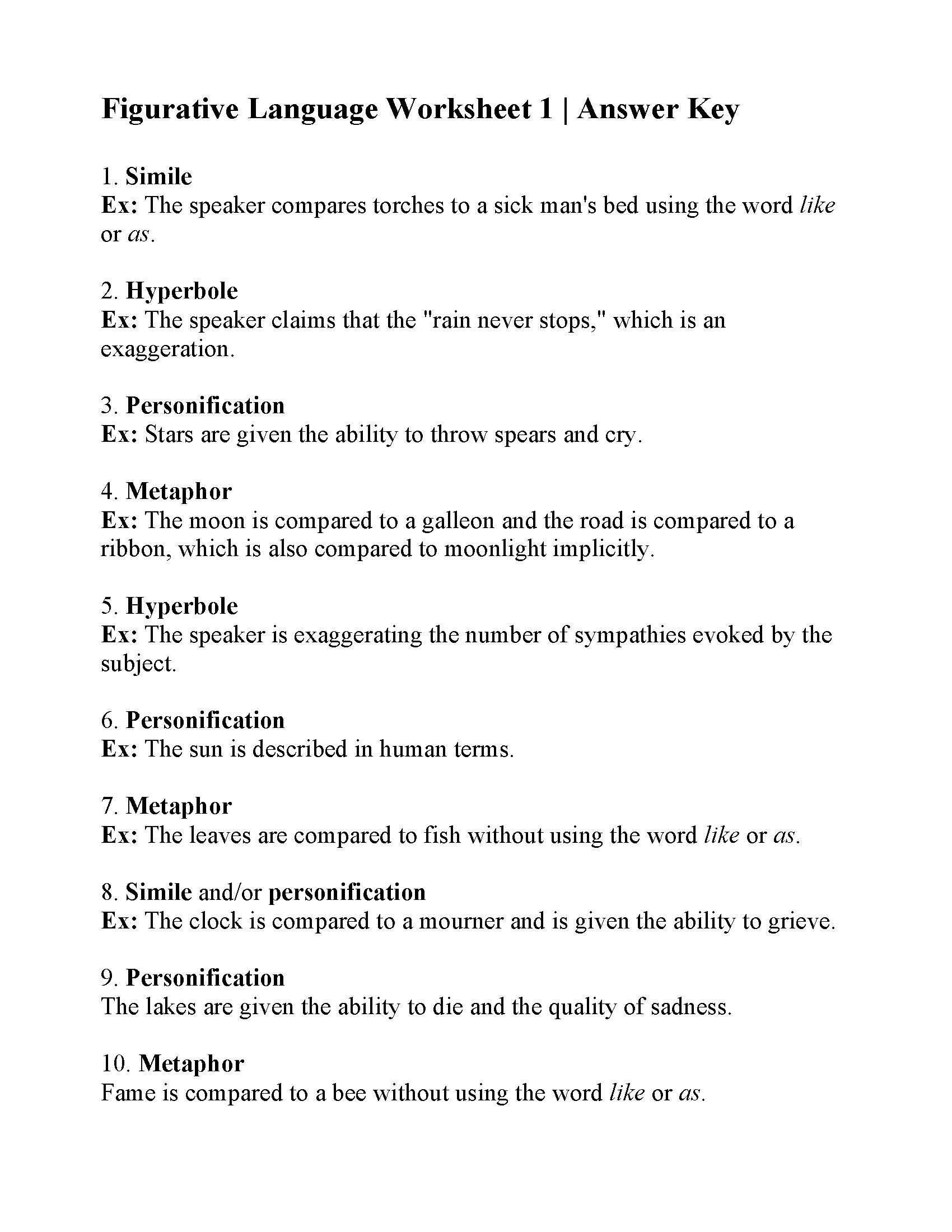 Nice Printable Worksheets On Figurative Language That You
