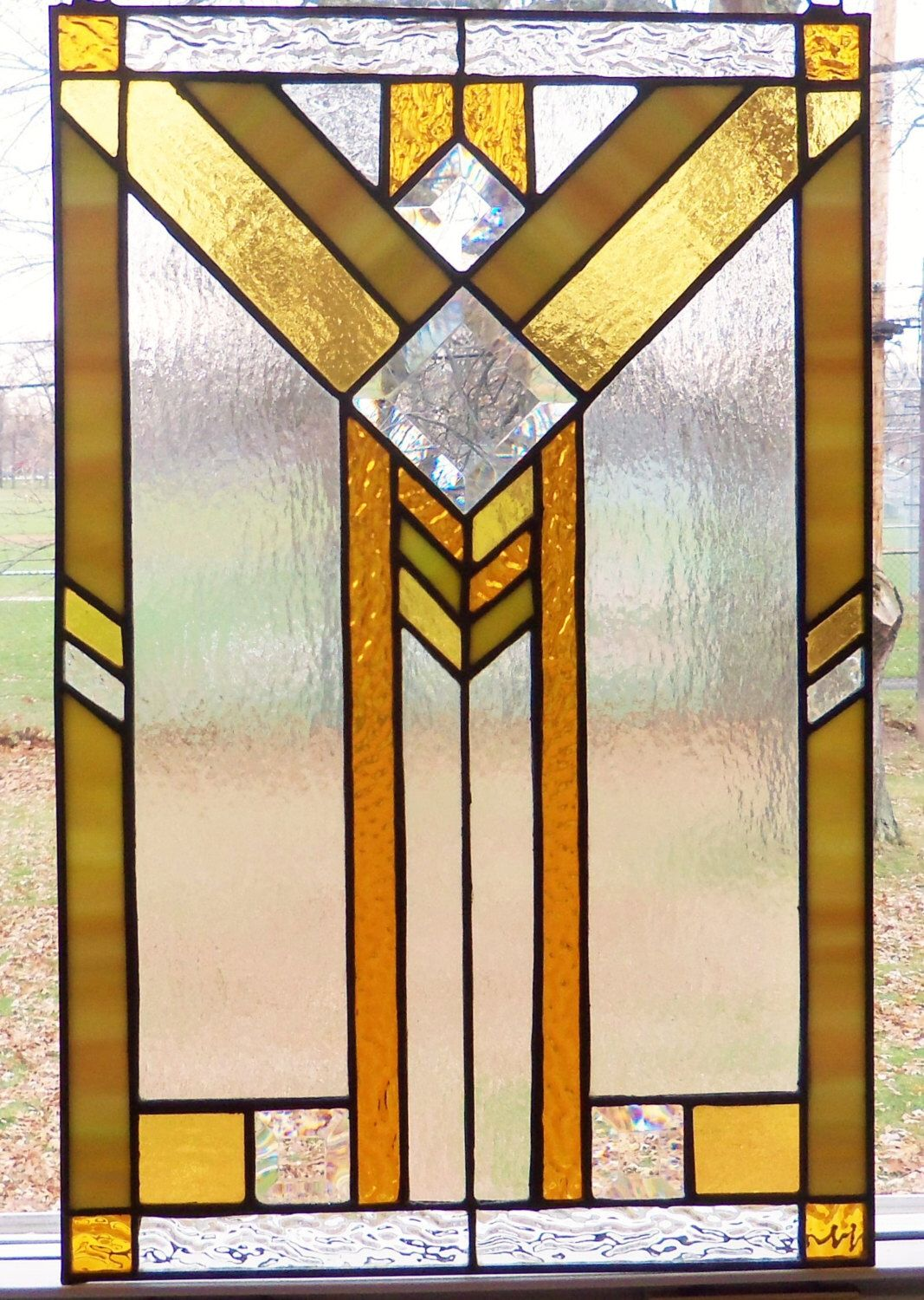 Prairie Style Stained Glass Panel Gold Amber Green And Beautiful Bevels Craftsman Stained Glass Panels Glass Panels Tiffany Glass Art