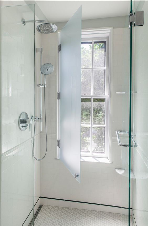 what a cool idea!  Have your window in the shower and protect it with a glass shutter: