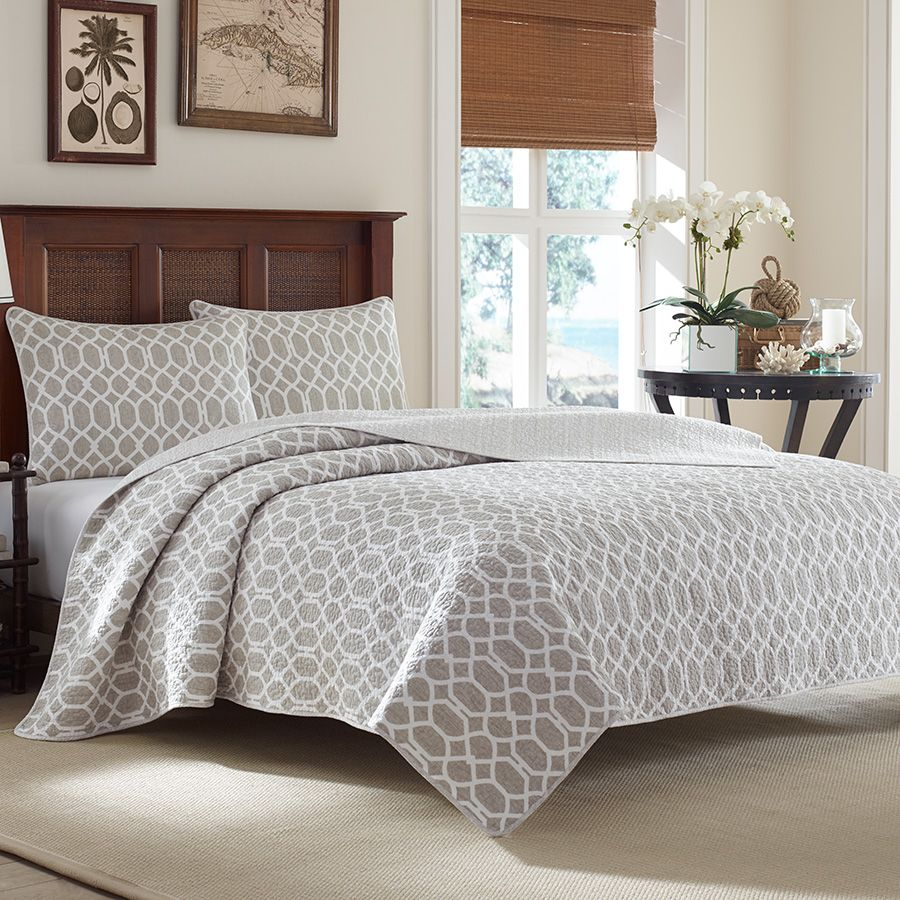 Tommy Bahama Catalina Trellis Gray Quilt Set Beach Decor