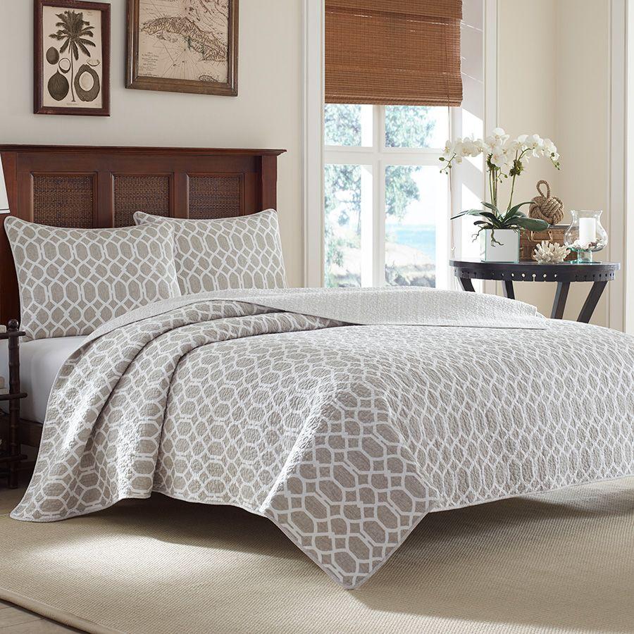 Tommybahama Catalina Trellis Gray Quilt Beddingstyle