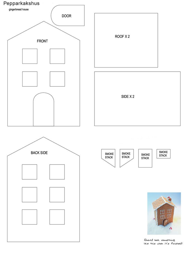 full size gingerbread house template  gingerbread house pattern in 6 | Gingerbread house ...