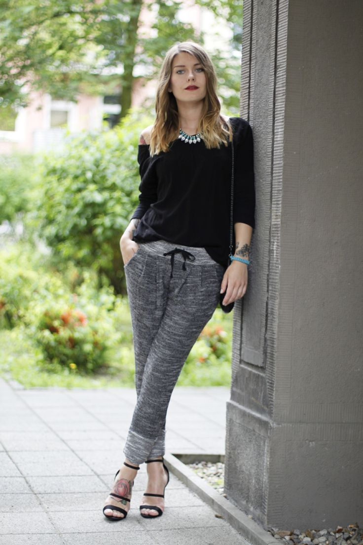 what shoes to wear with harem pants | harems, grey joggers and