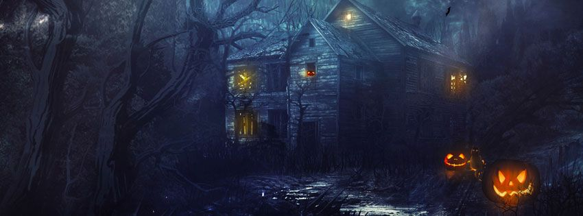 Halloween Scary House Facebook Cover (850×315)