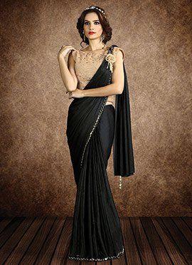 73b6322fb0 Black Shimmer Georgette Border Saree Best Designer Sarees, Latest Indian  Saree, Saree Blouse,