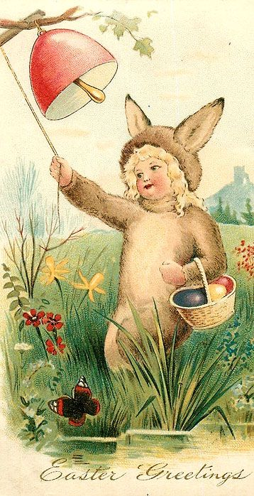 Easter Greetings...vintage antique postcard with little girl in bunny costume