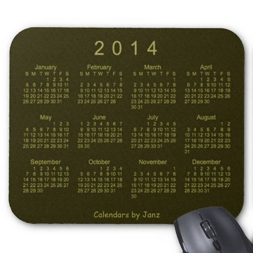 Drab Green 2014 Calendar Mouse Pad Design from Calendars by Janz $12.35