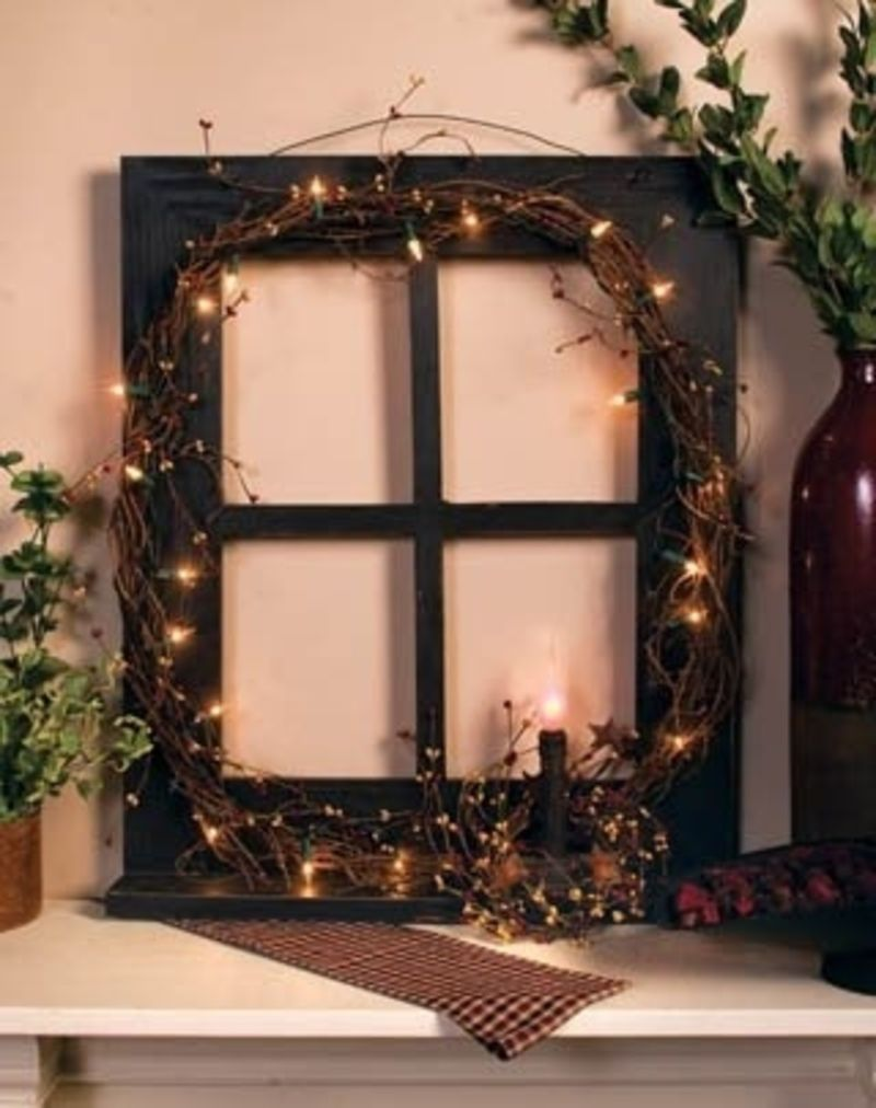 Primitive Window Frame Wall Hanging with Kitchen Utencils  Primitive Window Frame Decor